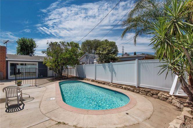 Pool behind house