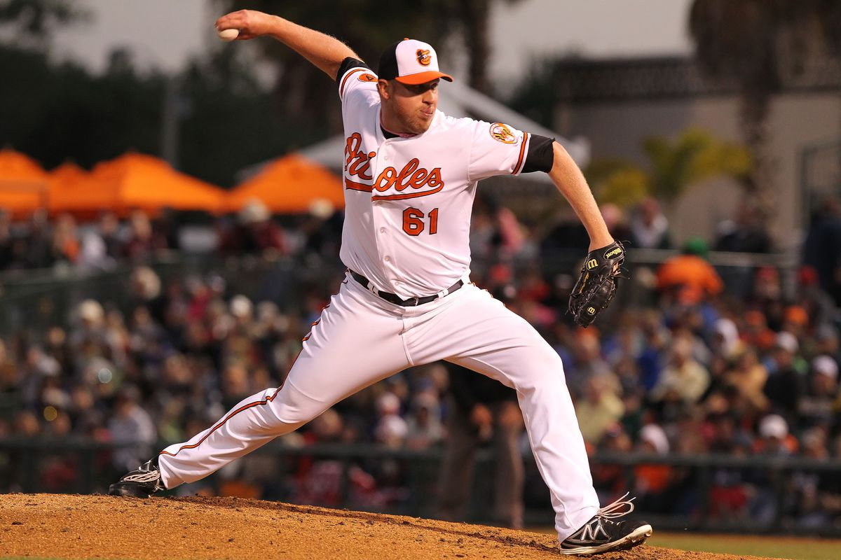Adam Russell is trying to make his case to be part of the Orioles bullpen this year.
