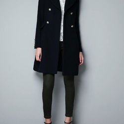 """<a href=""""http://www.zara.com/webapp/wcs/stores/servlet/product/us/en/zara-us-W2012-s/317502/926506/DOUBLE%20BREASTED%20OVERCOAT%20WITH%20GOLDEN%20BUTTON"""">Zara</a> Double Breasted Overcoat, $129.99 (was $169)"""