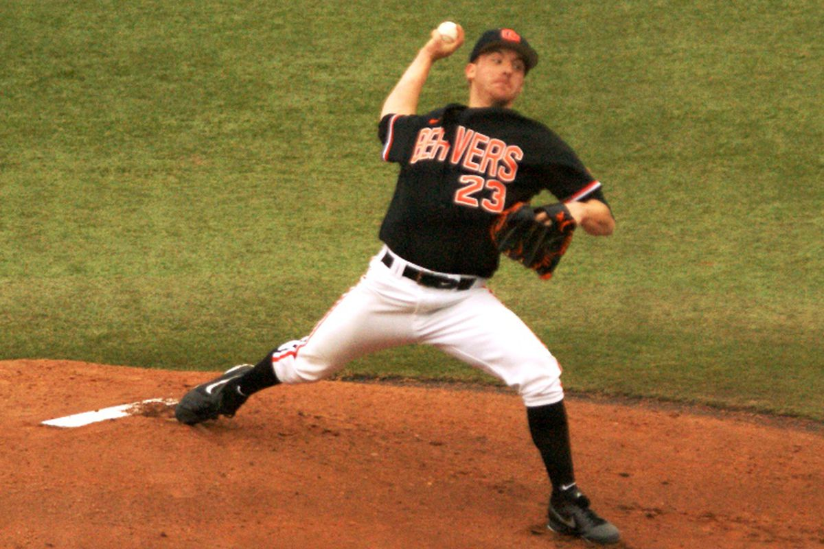 Andrew Moore will take the mound for the Beavers today as Oregon St. goes for another series win against Arizona St.