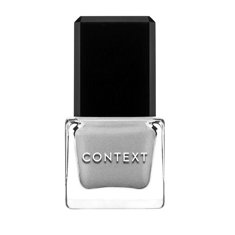 A bottle of metallic gray Context nail polish
