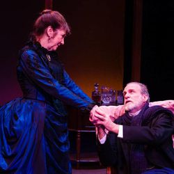 """Kathryn Atwood (Julia Dent Grant) and Marshall Bell (Ulysses S. Grant) in Salt Lake Acting Company's world premiere production of Grant & Twain."""""""