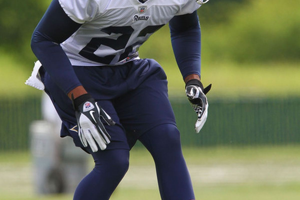 ST. LOUIS, MO - MAY 12: Trumaine Johnson #22 of the St. louis Rams participates in a drill during rookie mini camp at the ContinuityX Training Center on May 12, 2012 in St. Louis, Missouri. (Photo by Dilip Vishwanat/Getty Images)