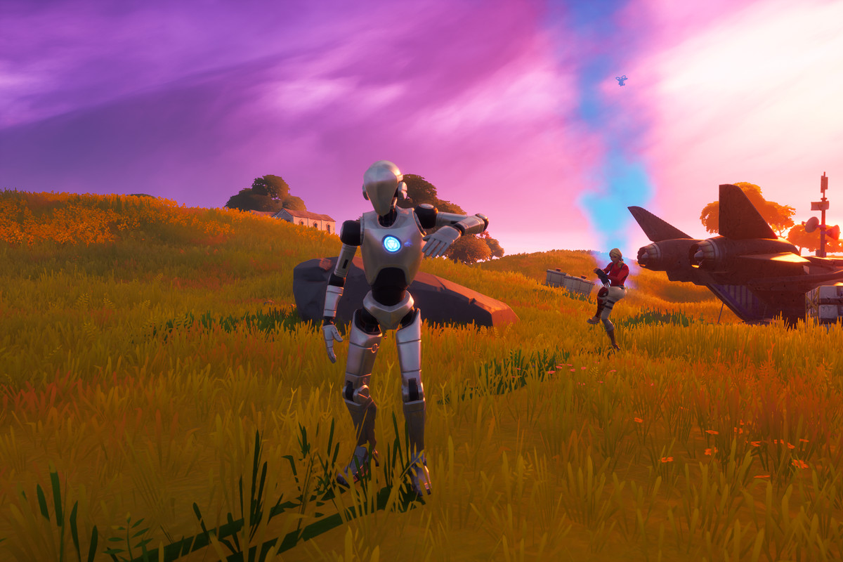 A Stark Inudstries robot and a player dancing in Fortnite