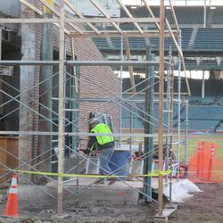 Another closeup view of the area where the inner bleacher wall was removed next to Gate Q