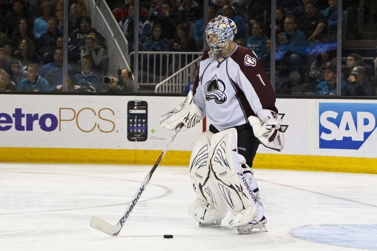 Russian goalie Semyon Varlamov (1) stops the puck in front of his goal against the San Jose Sharks during the third period at HP Pavilion. San Jose defeated Colorado 5-1. Mandatory Credit: Jason O. Watson-US PRESSWIRE