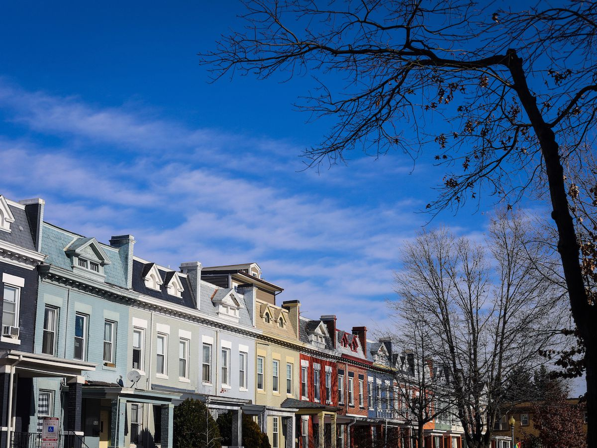 Rowhouses under blue skies on a D.C. street.