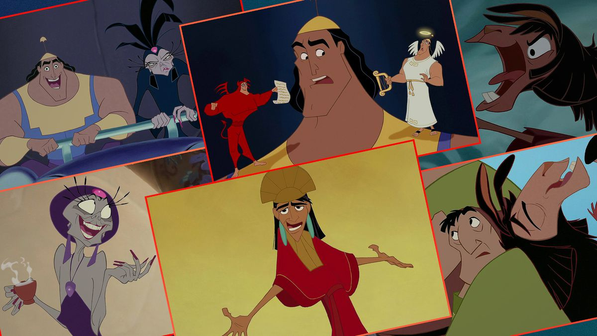 """Graphic grid of still images from the Disney film """"The Emperor's New Groove"""""""