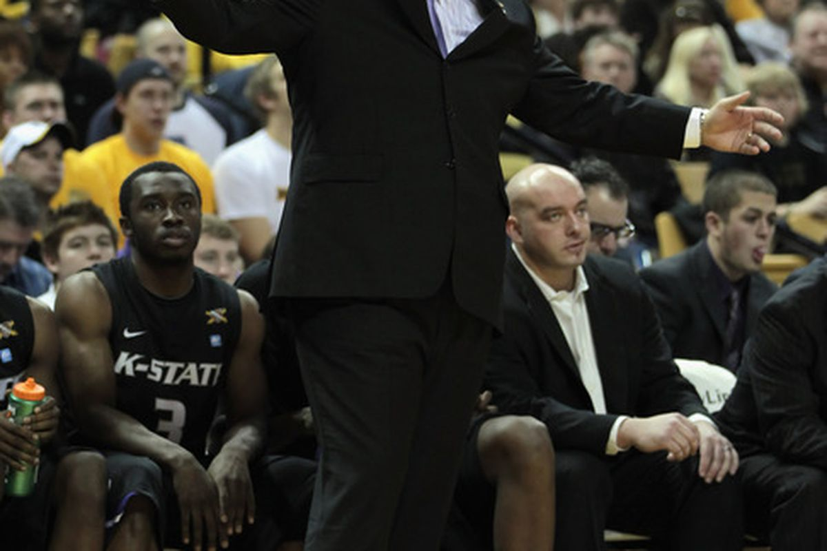 COLUMBIA MO - JANUARY 17:  Head coach Frank Martin of the Kansas State Wildcats reacts during the game against the Missouri Tigers on January 17 2011 at Mizzou Arena in Columbia Missouri.  (Photo by Jamie Squire/Getty Images)