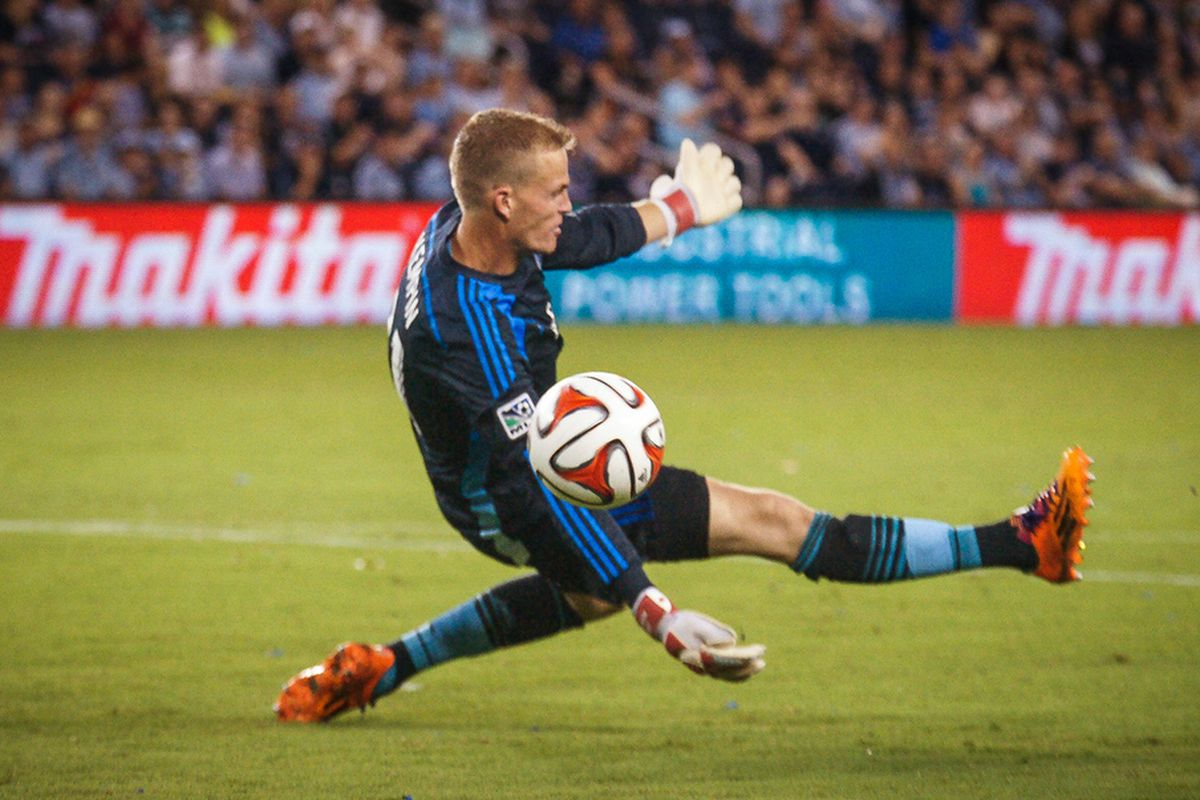 Kempin came up big in this save against Brazilian DP Gilberto