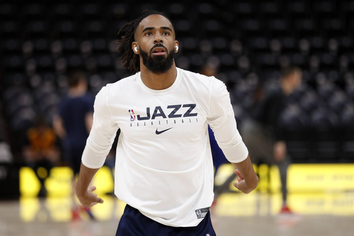 Utah Jazz guard Mike Conley warms up prior to their game against the Detroit Pistons at Vivint Smart Home Arena.
