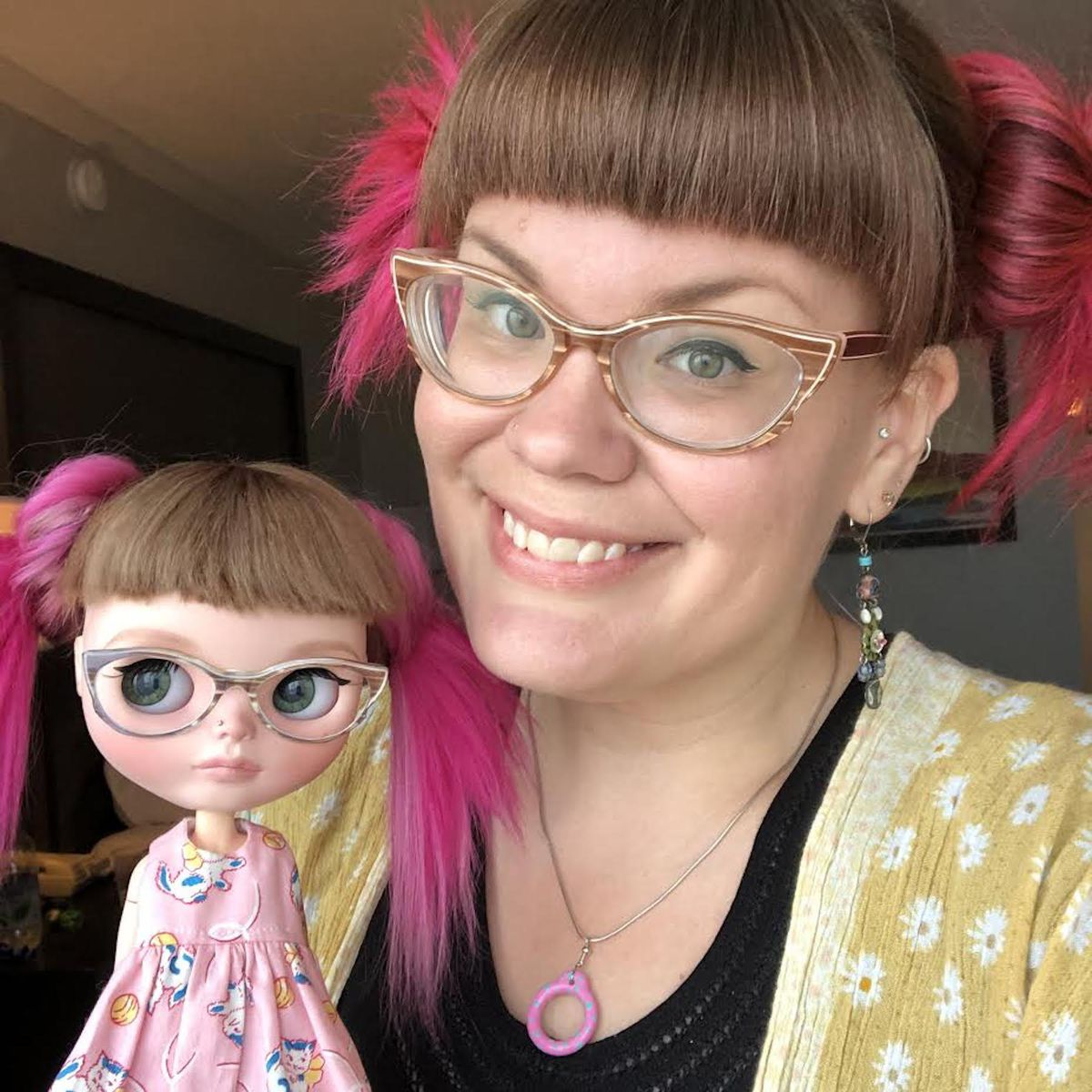 Sarah Thompson with the Blythe doll she customized to win a Mini-Me contest last year at a Minneapolis convention.