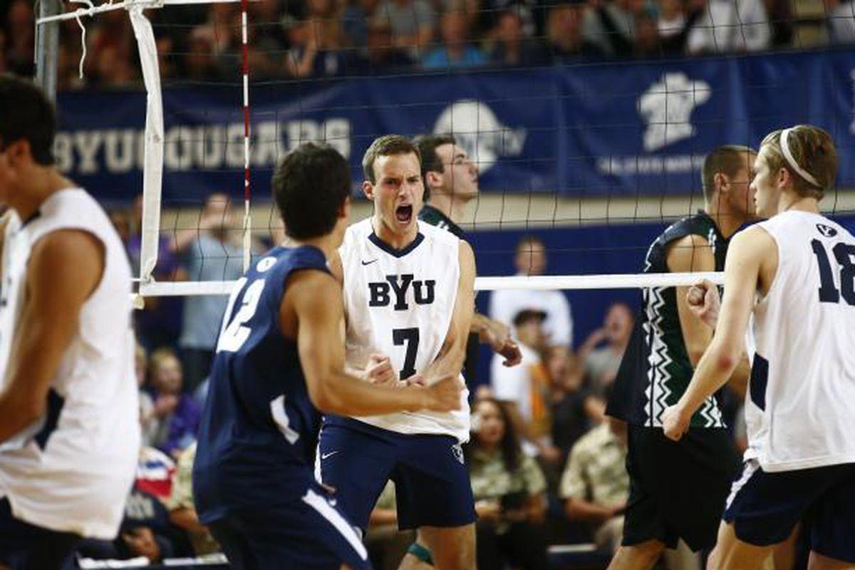 Senior Phil Fuchs celebrates as BYU sweeps #1 Hawaii.
