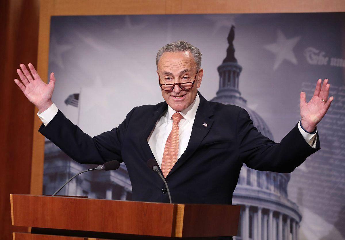 Chuck Schumer Holds Press Briefing On Current Government Budget Negotiations