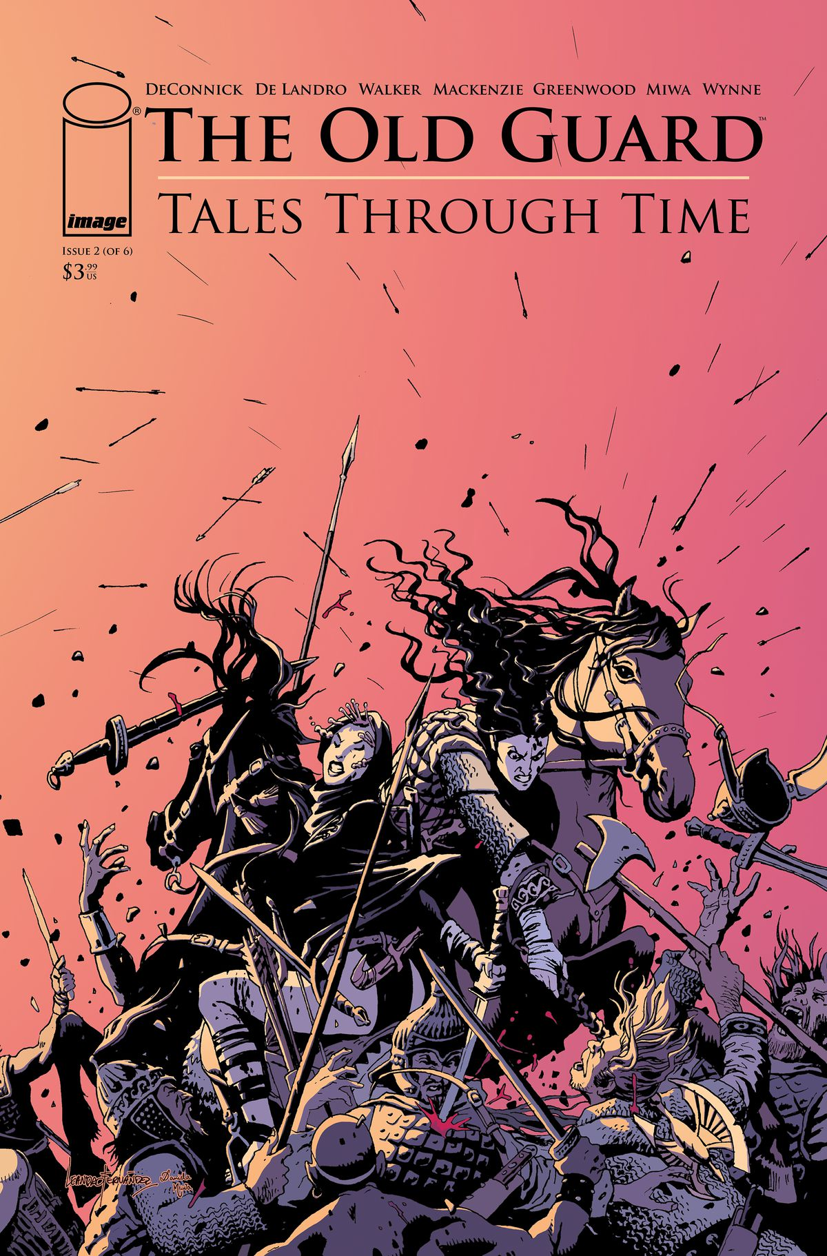 The Old Guard: Tales Through Time issue #2 cover - two warrior women on horseback fight an army