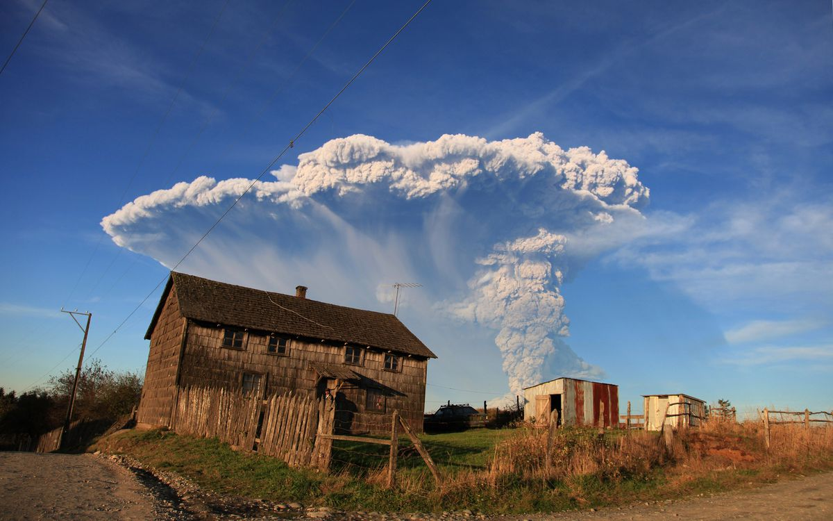 View from Puerto Montt, southern Chile, of a high column of ash and lava spewing from the Calbuco volcano, on April 22, 2015. (Diego Main/AFP/Getty Images)