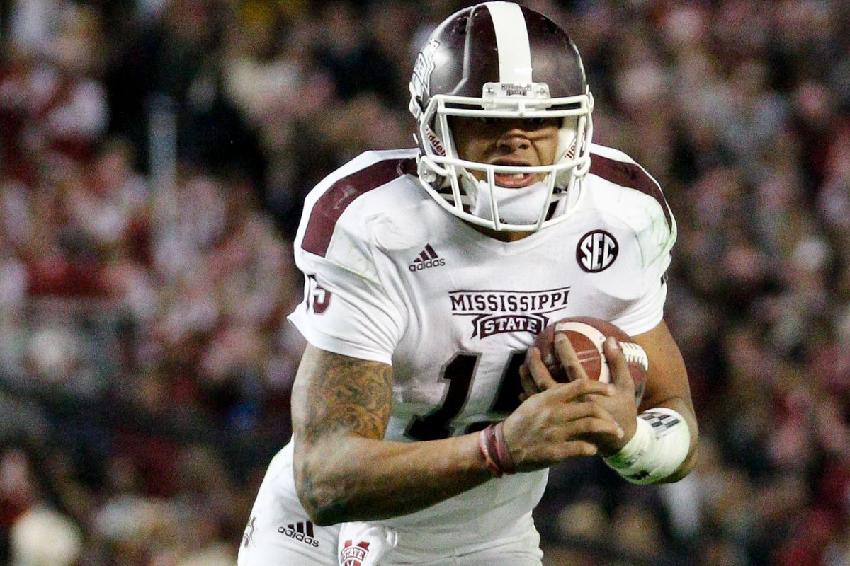 Dak Prescott, who recently converted from freight train to quarterback at MSU.