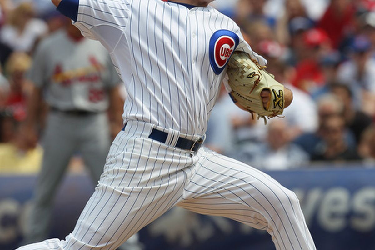 This didn't go well: starting pitcher Casey Coleman of the Chicago Cubs delivers the ball against the St. Louis Cardinals at Wrigley Field on May 12, 2011 in Chicago, Illinois. (Photo by Jonathan Daniel/Getty Images)