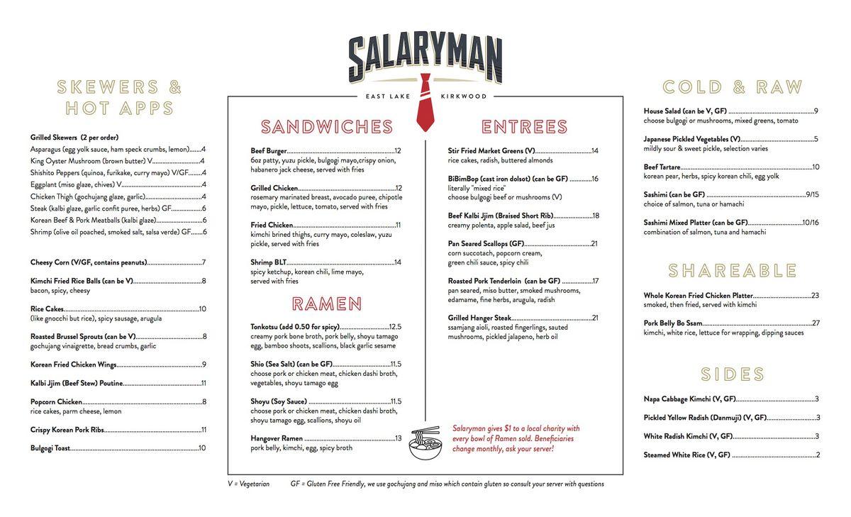 The food menu for Salaryman in East Lake