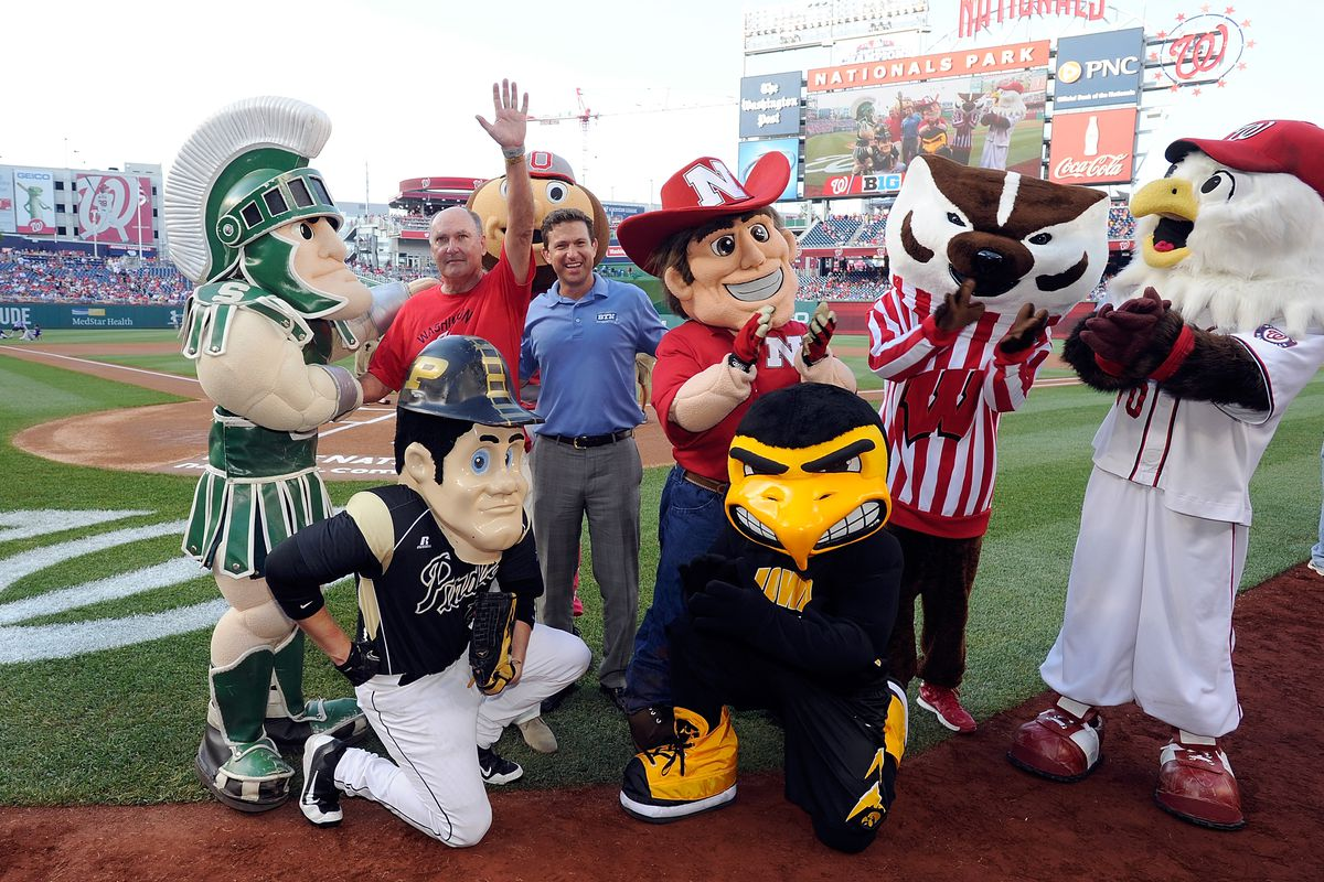 Hmmm...Some B1G mascots at a baseball stadium.  One of these things in not like the other...one of these just doesn't belong.