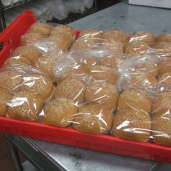 About 70 of these racks of bread go through the McPherson Square location each week. Each rack carries nine bags of buns.