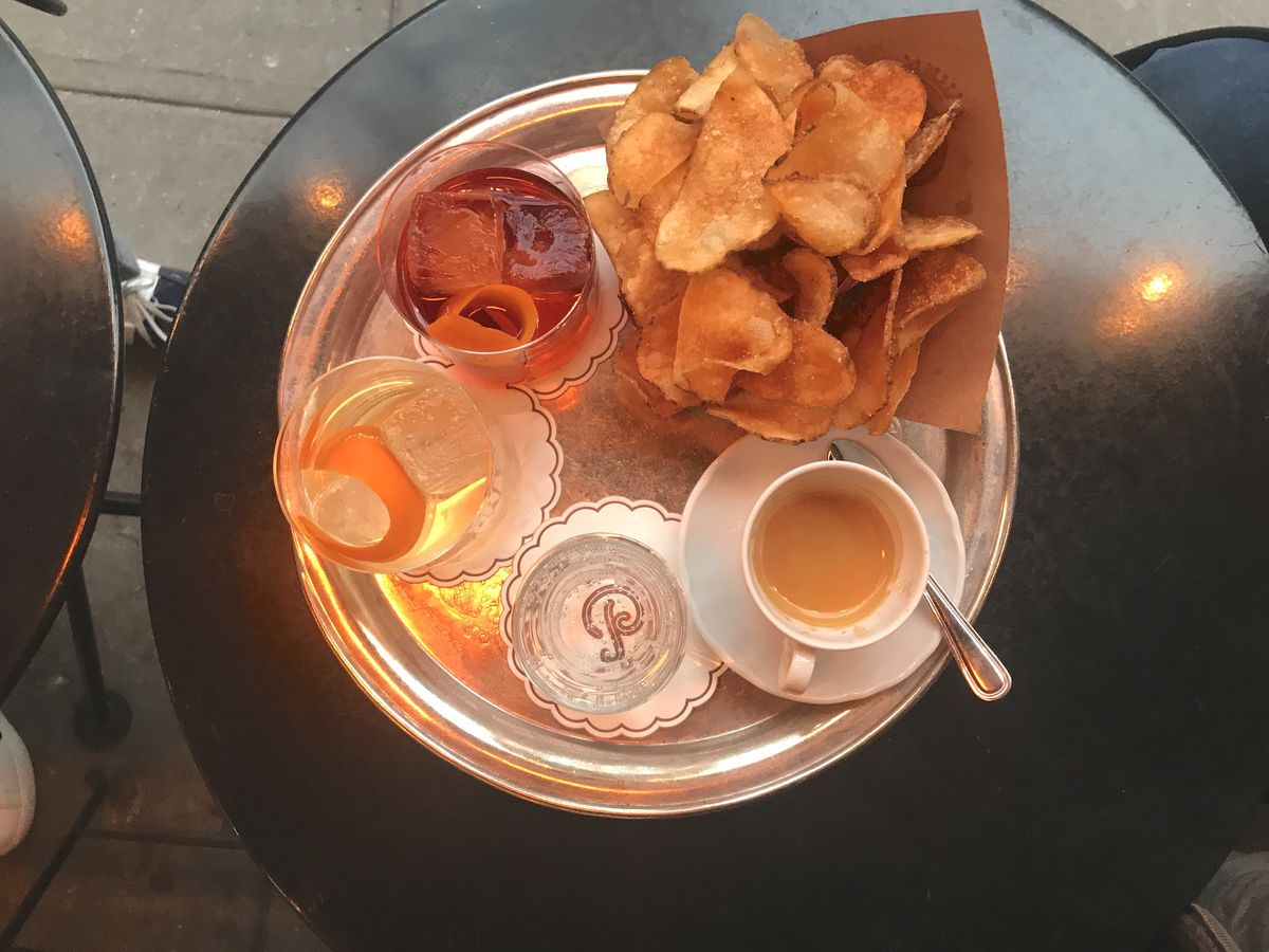Negronis, espresso, and chips at Bar Pisellino