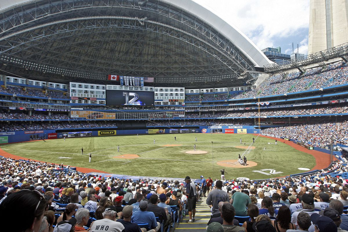 TORONTO, CANADA - JULY 31:  Close to 45,000 fans fill the Rogers Centre during MLB action at the Rogers Centre July 31, 2011 in Toronto, Ontario, Canada. (Photo by Abelimages/Getty Images)