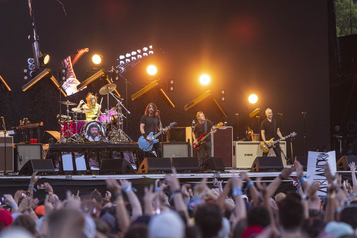 Foo Fighters perform Sunday on the final day of Lollapalooza in Grant Park.