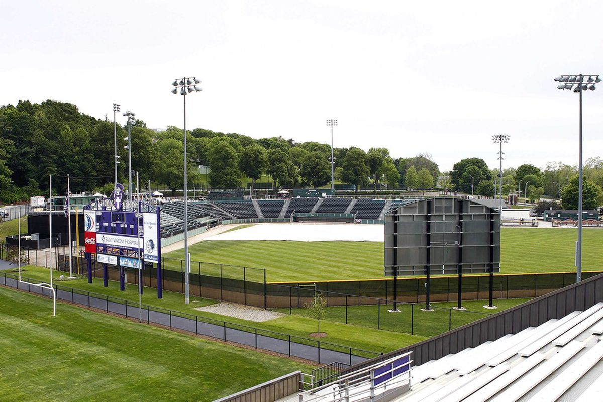 May 21, 2012; Worcester, MA, USA; A general view of Fitton Field prior to a game between the Worcester Tornadoes and the Quebec Capitales.  Mandatory Credit: Mark L. Baer-US PRESSWIRE