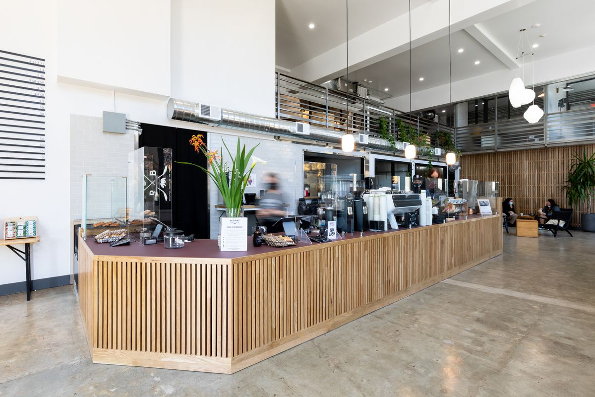 The long coffee bar at Red Bay Coffee's new location.