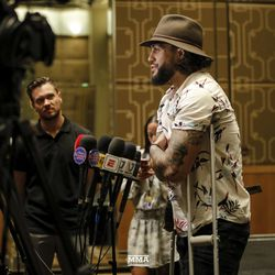 Tyson Pedro needs some crutches at UFC 234 media day.