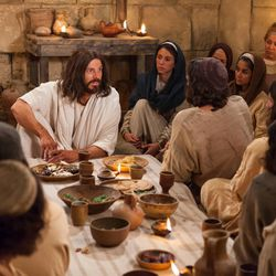 Jesus Christ sits with and teaches his apostles, disciples and followers after his resurrection in this image from the Bible Videos.