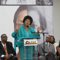 Ambassador Diane Watson, a former U.S. congresswoman and former ambassador to Micronesia, supports the Freedmen's Bureau Project at a news conference in Los Angeles, June 19, 2015.