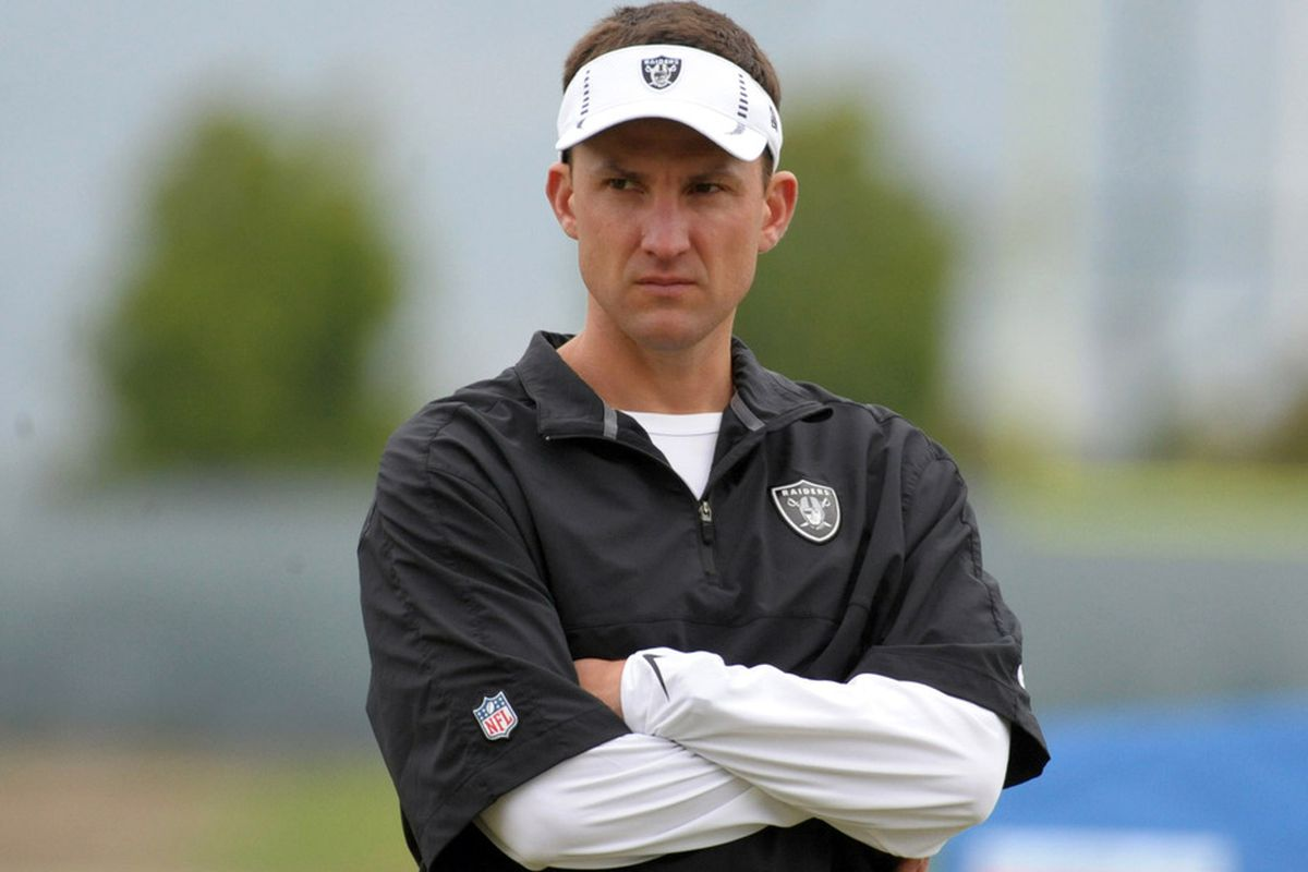 May 15, 2012; Alameda, CA, USA; Oakland Raiders coach Dennis Allen at organized team activities at the Raiders practice facility. Mandatory Credit: Kirby Lee/Image of Sport-US PRESSWIRE
