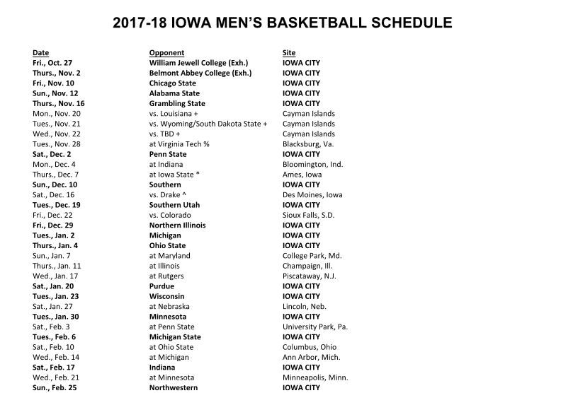 Iowa Hawkeyes Basketball Regular Season Schedule