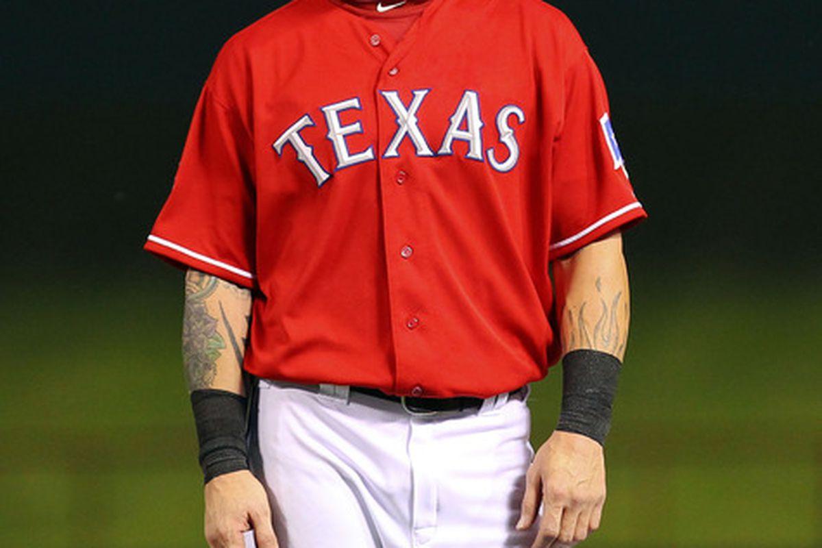 Texas Rangers center fielder Josh Hamilton is still playing well, but he's cooled considerably.  Mandatory Credit: Kevin Jairaj-US PRESSWIRE