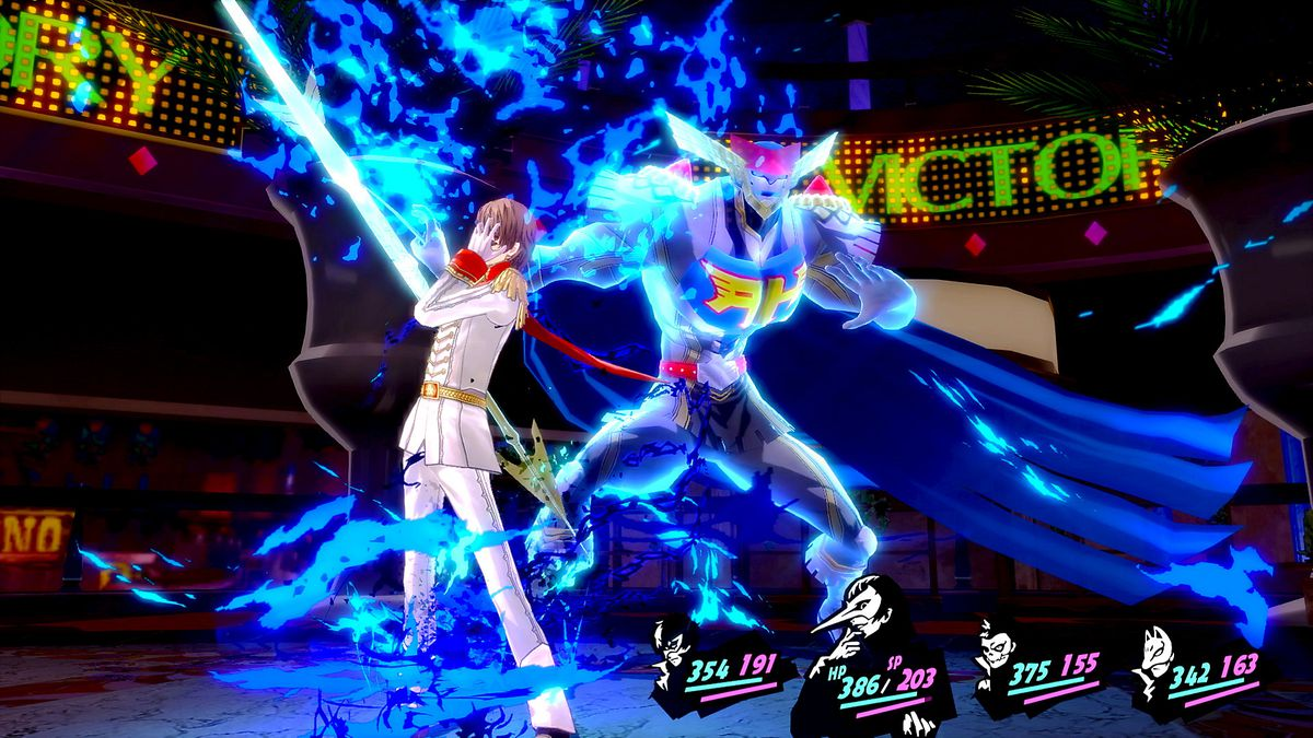 Goro Akechi summons his persona during battle in Persona 5 Royal.