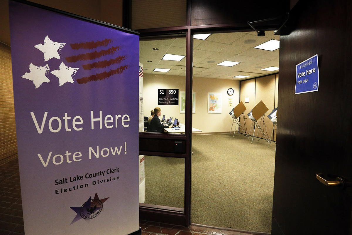 Voting machines are idle in this photo during early voting at the Salt Lake County Government Center in Salt Lake City on Tuesday, Oct. 31, 2017, 2017.