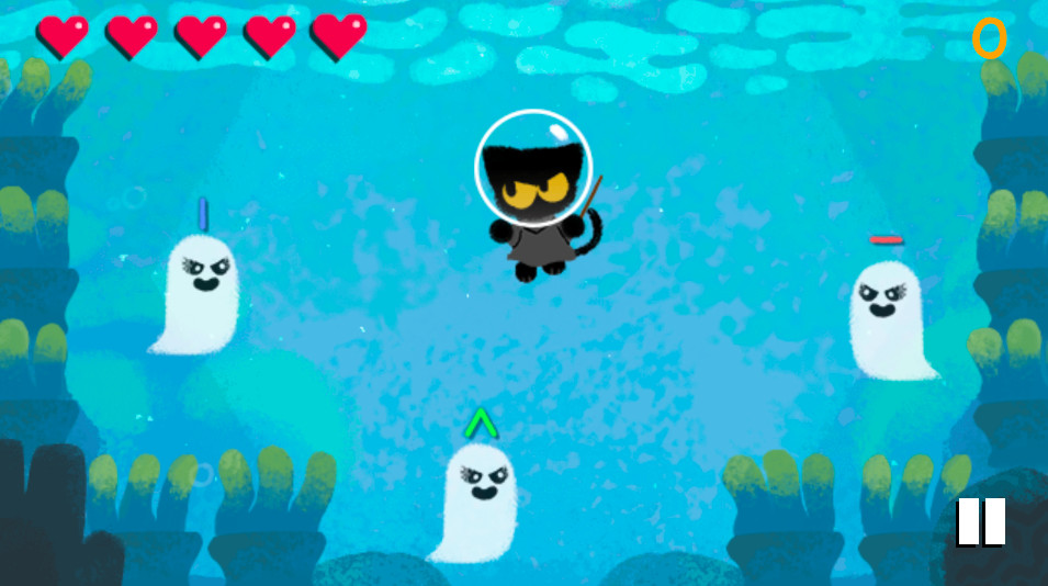 A small black cat in a diving helmet is approached by ghosts underwater