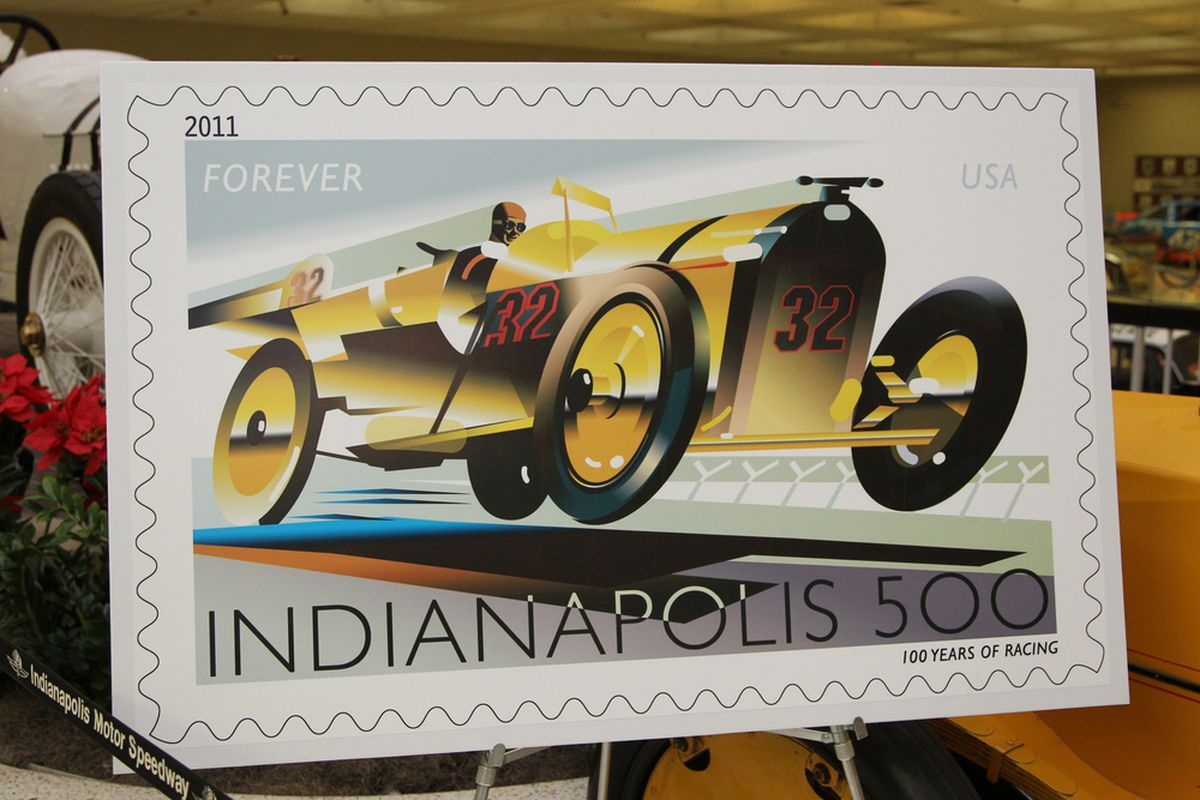 The 2011 USPS first-class stamp bearing the stylized image of the Marmon Wasp, designed to honor the 100th anniversary of the Indianapolis 500 (Photo: IMS Photo/Ron McQueeney)
