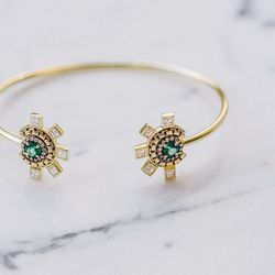 18 karat gold, emerald and diamond 'Revival' cuff with chain and pavé  detail, $10,500