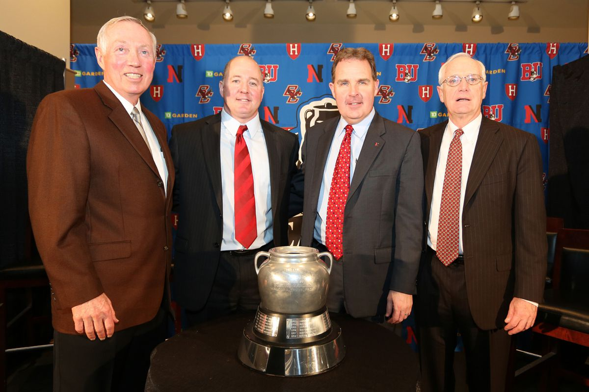 Harvard coach Ted Donato stands with the other three Beanpot coaches.