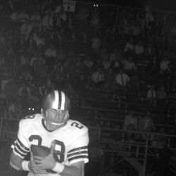 1966-FSU #28 T.K. Wetherell with the football during game in Tallahassee against Mississippi State University.
