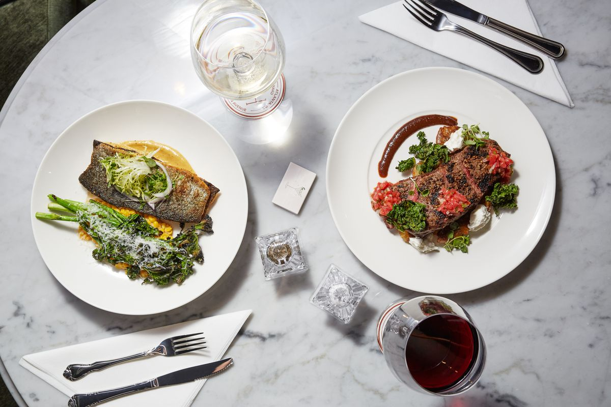 Roast trout and New York strip at Mrs. P's Bar and Kitchen in Atlanta