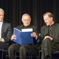 Most Reverend Charles J. Chaput (center), Archbishop of Philadelphia, sits with President Kevin Worthen (left) and Bishop John C. Wester during his visit to BYU on Jan. 23, 2015.