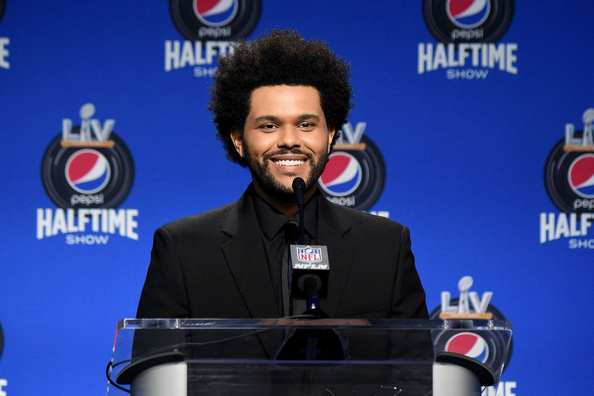 The Weeknd speaks during the Pepsi Super Bowl LV Halftime Show Press Conference at Tampa Convention Center on February 04, 2021 in Tampa, Florida.