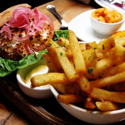 """Burger and Herb Dusted Fries from Beauty & Essex by <a href=""""http://www.flickr.com/photos/wwny/8045387256/in/pool-eater/"""">wEnDaLicious</a>"""