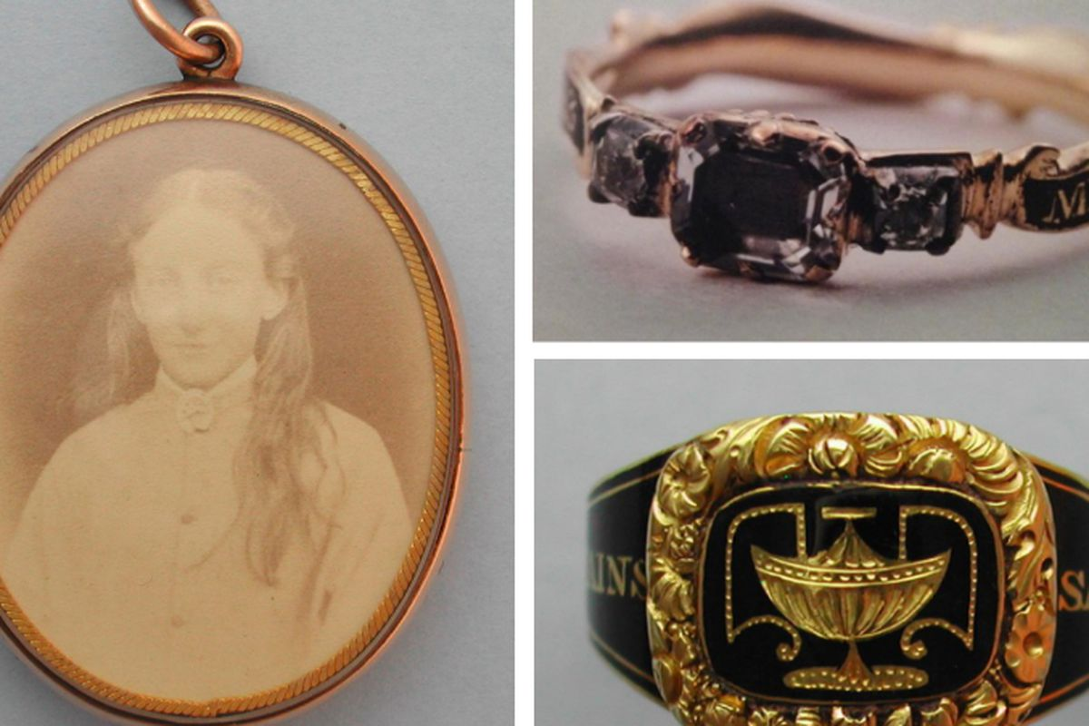 """Various forms of mourning jewelry, via <a href=""""http://thehairpin.com/2013/01/an-interview-with-mourning-jewelry-expert-sarah-nehama"""">The Hairpin</a>"""