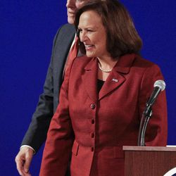 United States Senate candidates from Nebraska, Republican Deb Fischer and Democrat Bob Kerrey, walk away from their podiums following their second debate in Omaha, Neb., Friday, Sept. 28, 2012.