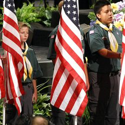 Boy Scouts of America participate in Golden Days, A Celebration of Life, in honor of President Thomas S. Monson's 85th birthday at the LDS Conference Center in Salt Lake City on Friday, Aug. 17, 2012.